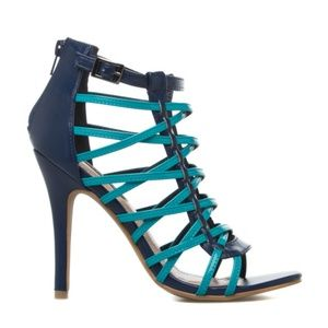 Navy and Teal Heeled Sandals